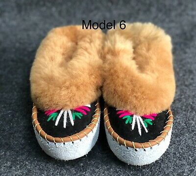 Kids Girls Boys Natural Leather Sheepskin Slippers Moccasins Youth Size UK10-2