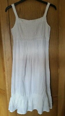 Next White Linen Girls Dress Size 10 years / 140 cm Beautiful Lace Detail