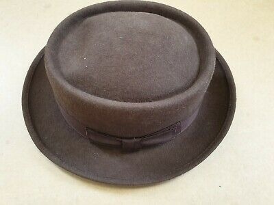 D97 Mens Vintage Dh Brown With Bow Wool Hat Uk Medium 56-57Cm