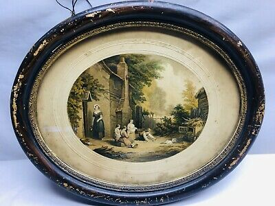 Vintage Victorian Oval Frame Print Picture London Family By LeBond &Co