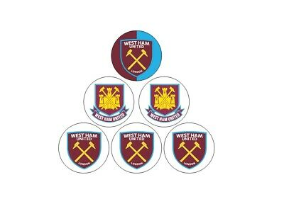 "35 x 1.5"" West Ham United FC WHUFC PRE-CUT -Wafer cupcake toppers"