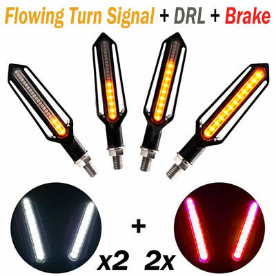 4X Motorcycle Moto Bike LED Turn Signal Lamp Sequential Flowing Indicator Light