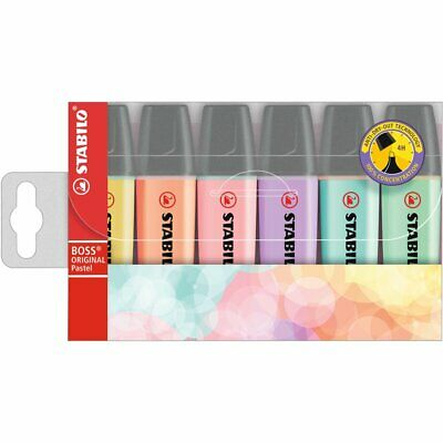 Stabilo Boss Highlighter assorted Pack of 6 - Pastel Colours - Chisel tip wallet