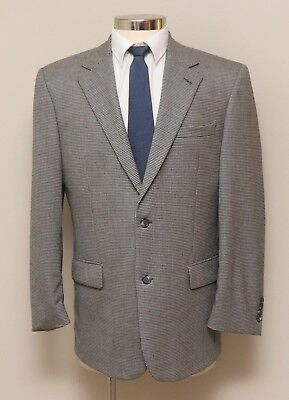 Mens 41R Jos. A. Bank Black and White Houndstooth 100% Wool Blazer