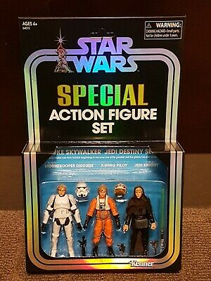 SDCC Hasbro EXCLUSIVE Star Wars Vintage LUKE SKYWALKER Jedi Destiny Figure Set