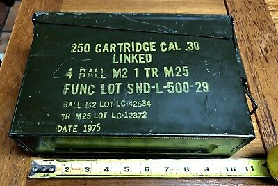 1975 30 Cal Ammo Can Army Military Carbine Ball Metal Storage Box