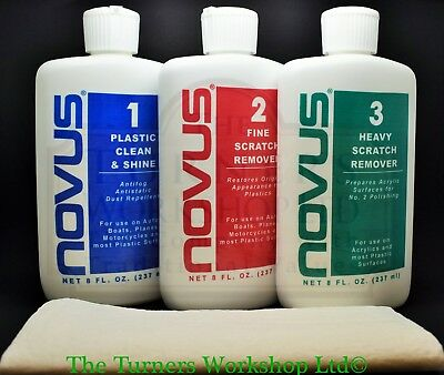 Novus Plastic Polish 3 pack, 1, 2 & 3 bottles plus 3 cloths