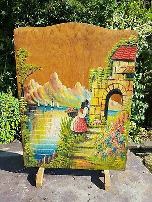 Vintage Painted Fire Screen Crinoline Lady / Spanish Lady  Painting