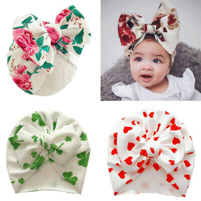 Newborn Baby Hat Head Wrap Flower Soft Bowknot Baby Turban Cap For Girl Toddler