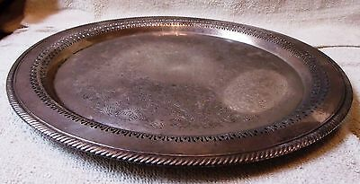 """Vintage Etched Sterling Silver Plated Platter 15"""" Wide Very Nice-Great Patina"""