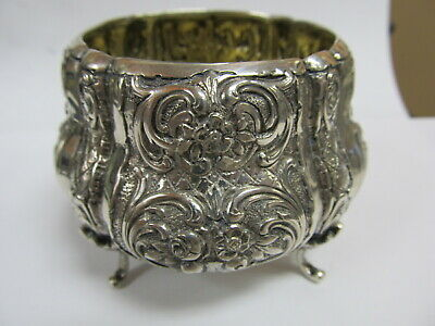 """Ornate Flower Reposse 800 Silver 4-Footed Small Bowl / Sugar 3 ¼"""" W Xlnt Cond"""