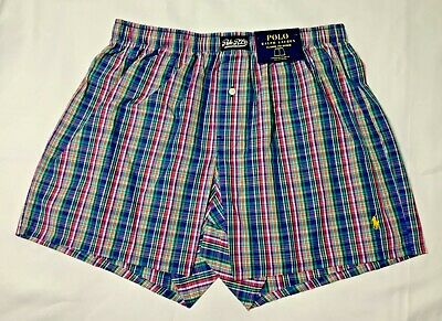 Polo Ralph Lauren Men's Classic Fit Woven Boxers Blue/Green Plaids Size S M L XL