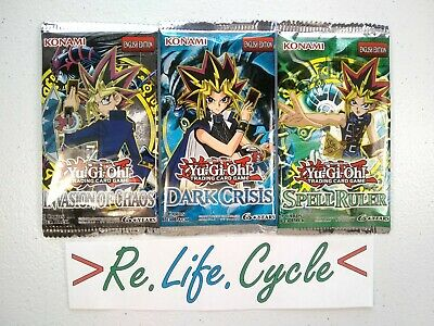 Yugioh Dark Crisis+ Invasion of Chaos+ Spell Ruler 3x Booster Pack Cards Lot NEW
