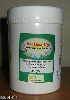 FEATHER-UP 100g - FEATHER UP MOULTING SUPPLEMENT - Birdcare Co.