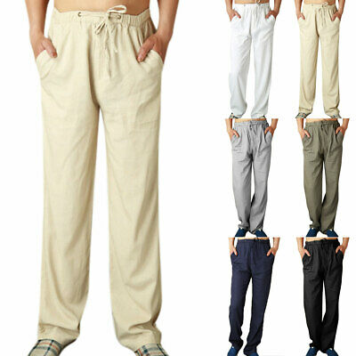 Mens Linen Cotton Trousers Summer Loose Lightweight Casual Comfy Lace Up Pants