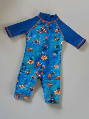 MOTHERCARE Baby Boys Sun Safe Swimming Suit UPF 40+ Blue Nemo Fish 6-9 Months