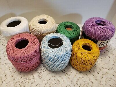 Crochet Knitting Embroidery Tatting Cotton Thread 7 Balls PRE-OWNED