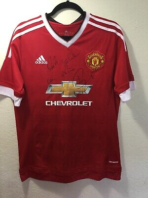 MANCHESTER UNITED JUAN MATA & 4 Players HAND SIGNED Autographed Shirt Jersey