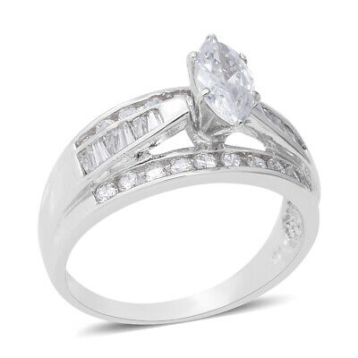 925 Sterling Silver Marquise Cubic Zirconia Statement Ring Jewelry Size 5 Ct 4.6