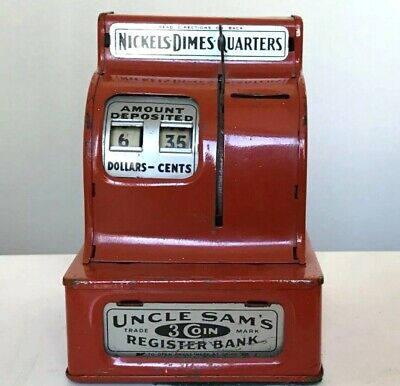 1950s Late Uncle Sam's 3 Coin Register Red Metal Toy Bank Nickels Dimes Quarters