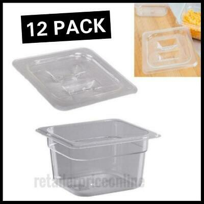 """12 Pack 1/6 Size Polycarbonate Food Pan 4"""" Deep With Lid"""