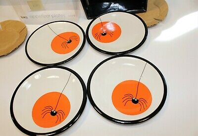 "Tag 2004 Appetizer Spider Halloween 6""  Set of 4 Plates  NIB"