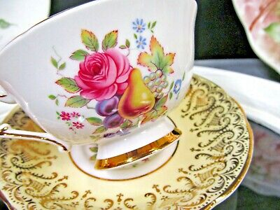 PARAGON tea cup and saucer yellow pink rose  teacup wide mouth England 1930's