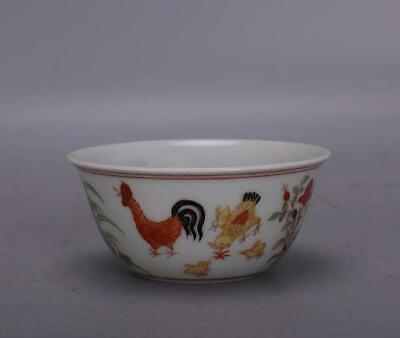 chinese old porcelain hand-painted Red green glaze chicken pattern cup 061122
