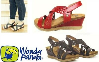 COMFORT LEATHER WEDGE sandals Wanda Panda Shoes Made in