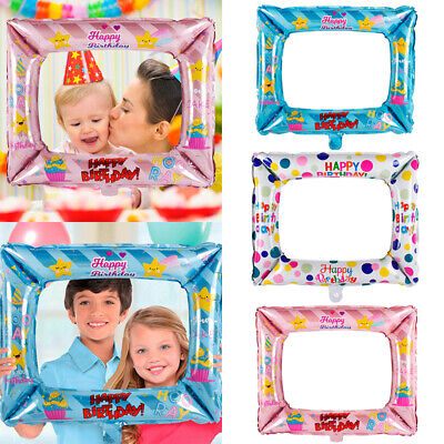 new Foil Balloons Photo Frame Photo Props Kids Happy Birthday Party Decoration
