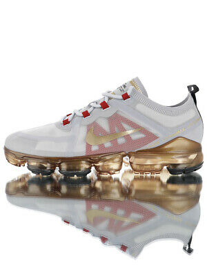 Men's Shoe Nike Air VaporMax 2019 White & Gold Running Shoes Sneakers ON SALE