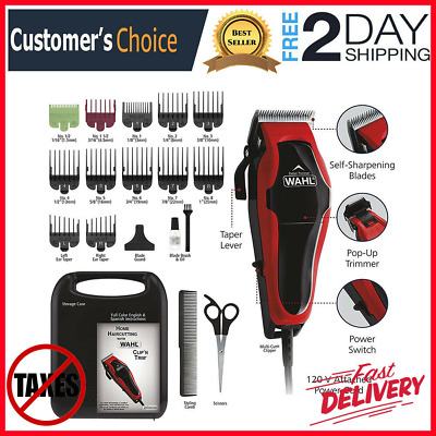 Professional Hair Cut Machine Barber Salon Cutting Clippers Trimmer Kit Wahl USA