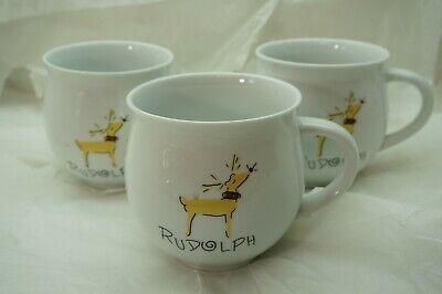 Pottery Barn Rudolph Oversized Mugs Set Of 3 Retired Christmas Reindeer Rare