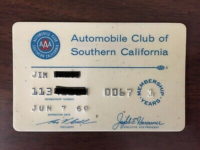 Automobile Club of Southern CA Vintage Collectors Credit Card. 1st Year Member.