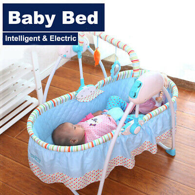 Electric Newborns Baby Crib Cradle Auto Rocking Chair Bassinets Rocker Sleep Bed