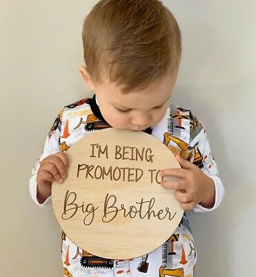 Im being promoted to a big brother baby announcement sign disc plaque