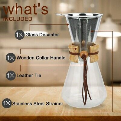 Pour over Coffee Maker, 20 Oz Borosilicate Glass Carafe and Reusable Stainl R9K7