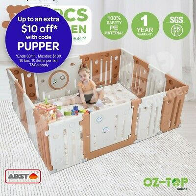 ABST Baby Playpen Interactive Kids Toddler Safety Gates with Lock 16 Sided Panel