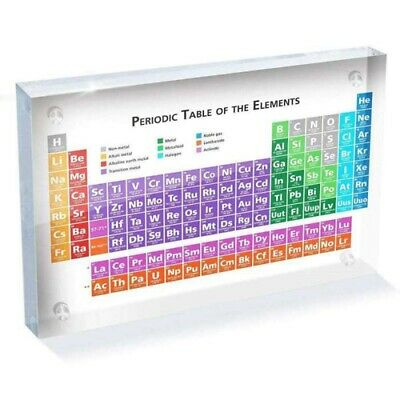 Acrylic Periodic Table Of Elements Table Display, with Elements Kids Teachi T8Y5