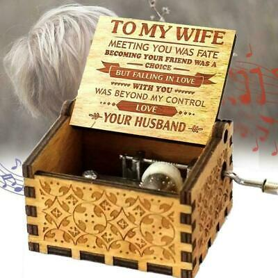 "Wooden Music Box ""TO MY WIFE"" Engraved Musical Case Love Toys Gifts A0T0"