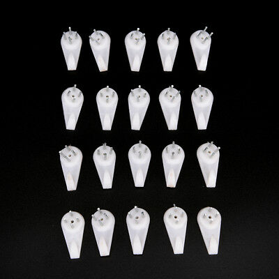 Hard Wall Picture Frame Plastic Hooks Hangers 4-Pin Small Pack of 20 White!E