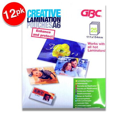 300pc GBC Creative Office 15.4cm A6 Laminating Pouches 125 Micron for Laminator