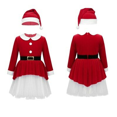 Christmas Girls Santa Clause Dress Xmas Party Fancy Outfits Kids Holiday Costume