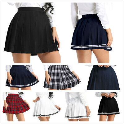 Women High Waist Short Skirt School Girls Plaid Pleated Mini Dress Sports Tennis