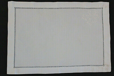 Vintage rectangular white linen cloth with ladderwork and embroidered flowers.