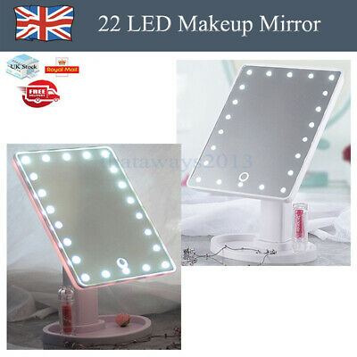 1x White or Pink 22LED Touch Screen Mirror Makeup Tabletop Cosmetic Vanity Light