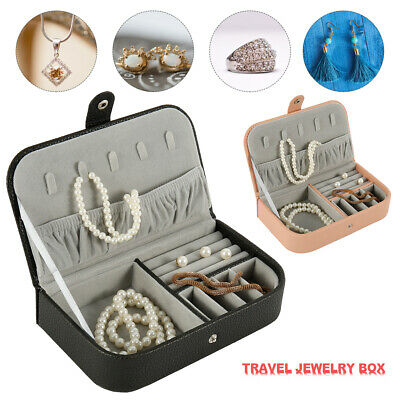 Portable Travel Jewelry Box Organizer PU Leather Jewellery Ornaments Case New