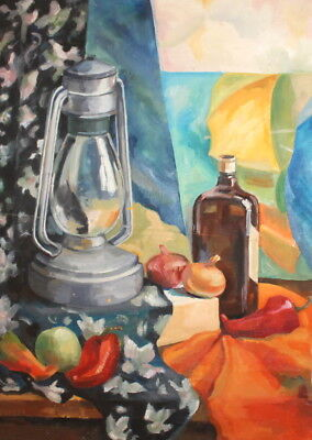 Vintage Oil Painting Still Life With Gas Lamp