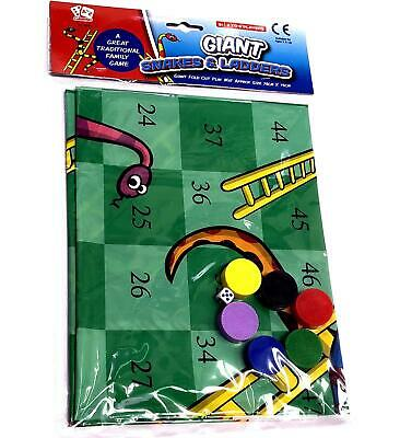 New Giant Snakes & Ladders Fold Out Plastic Play Mat 75Cm Family Game Party Fun