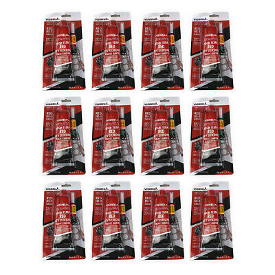 Pack of 12 Red High Temperature RTV Silicone Gasket Maker Sealant for Auto